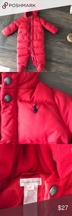 Red Ralph Lauren baby snowsuit Only worn once!  Cute snow suit for boy or girl.  Size 9 months.  Thick fully lined.  Built in feet and mitten covers. Ralph Lauren Other