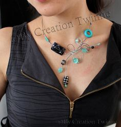 aqua blue and black necklace, fun unique jewelry design, bridal jewelry,funky necklace,bridesmaids gift ,mothers days gifts, wedding jewelry by creationtwinne, $39.50 Black Necklace, Turquoise Necklace, Bridesmaid Gifts, Bridesmaids, Asymmetrical Design, Jewelry Design, Unique Jewelry, Aqua Blue, Swirls