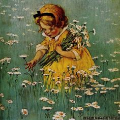 Jessie Willcox-Smith with a painting of a child picking daisies (Good Housekeeping magazine May 1929)