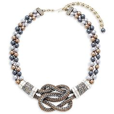 Heidi Daus Multi Glass Pearl Knot Statement Necklace ($276) ❤ liked on Polyvore featuring jewelry and necklaces