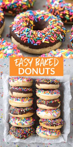 This is hands down our favorite baked donut recipe! Easy to make donuts at home with options for chocolate or white chocolate glaze, we love adding lots of sprinkles! Tried and true recipe with an amazing gluten free donut option. #donuts #bakeddonuts #glutenfreedonuts #vanilladonuts Vanilla Donut Recipes, Baked Donut Recipes, Baked Donuts, Doughnuts, Most Popular Desserts, Popular Recipes, Best Breakfast Recipes, Sweet Breakfast, Chocolate Glaze