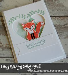 Julie Kettlewell - Stampin Up UK Independent Demonstrator - Order products 24/7: Foxy Friends Baby Card