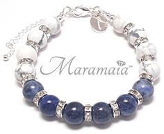 Air Element Sodalite and Howlite Sterling Silver Bracelet * INTELLIGENCE * INNER PEACE * CONFIDENCE * ABSORBS ANGER * INSPIRATION * WILLPOWER.