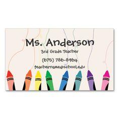 Teacher Crayons Business Card Cartes De Visite Professeur Des Enseignants