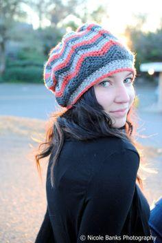 Crochet Slouch Beanie  Chasing Chevrons Slouch by ScarletsCorner, $32.00