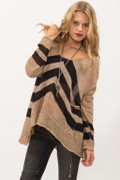 Free People Chevron Stripe Sweater- Available in Charcoal at smashed jewels boutique