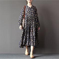 Print Cotton linen loose fitting dress
