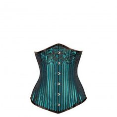 Deep Turquoise and Black Stripy Long-Line Underbust