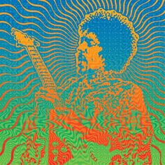 Jimi: Original Drawing from Red Vic Movie House Poster celebrating the 1971 Isle of Wight Movie Screening September 25, 2010.