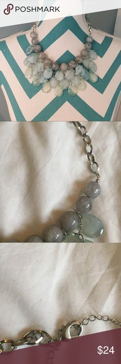 Statement Necklace Green and gray shades   NEVER WORN   Clasp in the back   Perfect condition   Can dress up any outfit ♡ (not JCrew, just for exposure) ‼️Bundled with a second necklace in my closet and you'll get a 15% discount on the whole order‼️ J. Crew Jewelry Necklaces