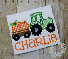 Boys Tracor with Pumpkin Trailer by PetitePartyCo on Etsy