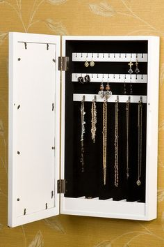 Valerie Photo Display Wall Mount Jewelry Armoire - White