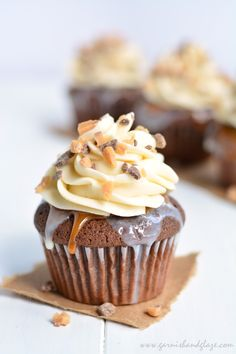chocOlate cupcakes with condensed milk butterscotch caramel and frosting with toffee bits