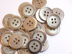 Silver and Gray Buttons, Silvertone Metal Buttons 3/4 inch diameter x 25 pieces, 4 Hole by GriffithGardens on Etsy