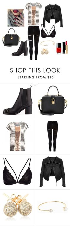 """""""nice evening outfit"""" by kaja-232 ❤ liked on Polyvore featuring Christian Louboutin, Dolce&Gabbana, sass & bide, River Island, Loushelou and Snö Of Sweden"""