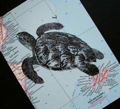 Sea turtle print on vintage ocean map, by CrowBiz
