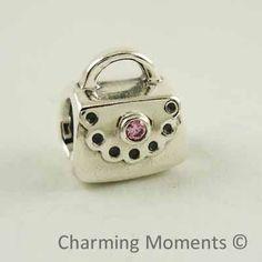 New Authentic Pandora Silver Charm Purse w Pink CZ 790309PCZ Bead