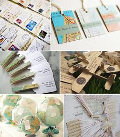 I like the escort card ideas.  Also, an old map on display, use pins and twine and print travel pics from all the countries you have been together and separately with stories/memories!