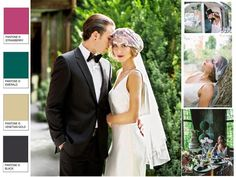 """""""Gatsby Inspired"""" Wedding Editorial....Featuring Ophelia Photography : PANTONE WEDDING Styleboard : The Dessy Group"""