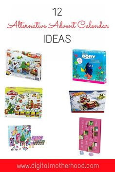 12 Alternative Advent Calendar Ideas | Some great suggestions if you are thinking of changing from a traditional chocolate advent calendar to an alternative advent calendar - including Lego, Barbie, My Little Pony, Play Doh and more.  #adventcalendar #christmas #lego #playmobil #findingdory #playdoh #crayola #hotwheels #barbie #disneyprincess #christmas #kids #toys