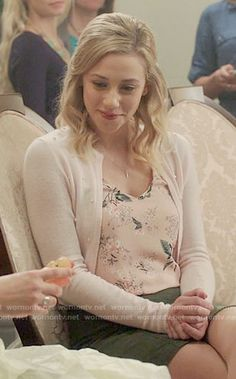 Betty's pink floral top and cardigan on Riverdale.  Outfit Details: https://wornontv.net/68486/ #Riverdale
