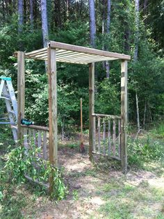make this with old ladder cut it into three pieces for the roof and sides! plant jasmine on both sides