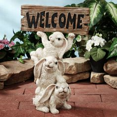 Bunnies Welcome Indoor Outdoor Sculpture