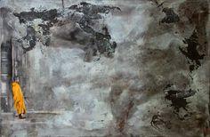Óxido-Contemplando (120 x 180 cm.), óleo y óxidos con técnica mixta sobre madera, 2012.