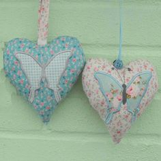 Tilda Fabric Hearts applique machine embroidery. made by bowbluebell.