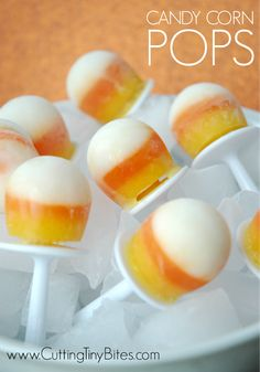 Healthy Halloween Snack Popsicle for Kids. Fruit and yogurt Candy Corn POPS!