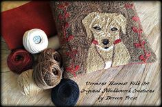 Floss And Fabric Kit For Oliver James Punch  Needle Embroidery Pattern By Doreen Frost