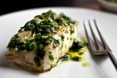 Parsley Salsa Verde With Grilled Cod.