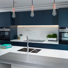 Our latest ink blue display kitchen showcasing the Quooker boiling water tap and Xylocleath breakfast bar. Boiling Water Tap, Kitchen Diner Extension, Kitchen Gallery, Grey Kitchens, Townhouse, Kitchen Ideas, Diner Ideas, New Homes, Ink Blue
