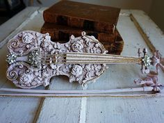 Pink real violin art piece shabby cottage chic distressed decorated fiddle w/ bow ornate embellished one of a kind decor anita spero design