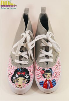 Casual Fashion Shoes for girls - Hand Painted Sneakers with geisha - facebook: Lulush.Shoes