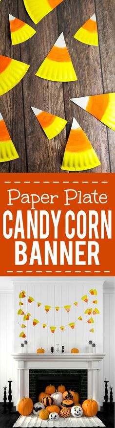 DIY Halloween Paper Plate Candy Corn Banner Tutorial - This cute and… (Halloween Crafts)