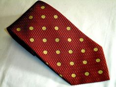 MICHAEL+NEWELL+Woven+Maroon+W/+Gold+Polka+Dot+All+Silk+Tie+Made+in+USA+NWOT+