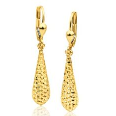 9ct Yellow Gold Bomber Drop Earrings image-a