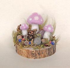 needle felted garden | Pink Fairy Mushroom Garden Needle Felted Pink by gingerlittle, $36.00