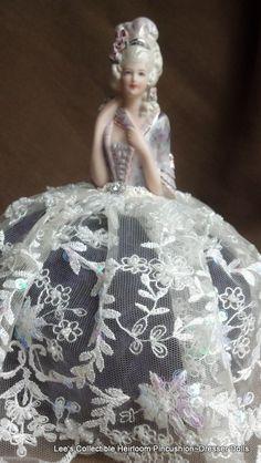 Porcelain half doll pincushion dresser doll.  Victoria ~ Ebay