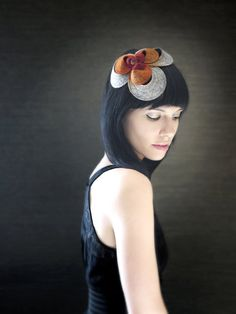 Autumn Red Orange and Grey Felt Headband With by pookaqueen, $87.00
