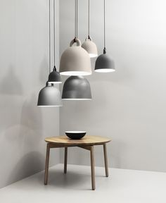 Normann Copenhagen Bell Lamps in sand or grey and x-small, small, medium or large sizes