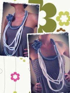 Collar de trapillo con flor. Modelo D www.prispicollection.blogspot.com