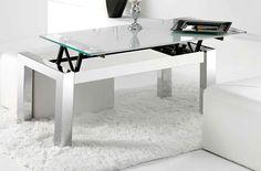 Mesa centro elevable modelo UNIVERSAL patas cromadas y cristal blanco - Sedutahome: Amazon.es: Hogar