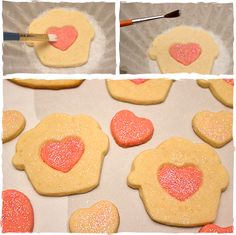 Such an easy way to make pretty cookies! Step-by-step directions for adding sparkly pink hearts to the center of your cookies