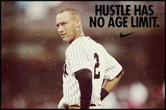 Derek Jeter- 20 seasons for the NY Yankees! Derek Jeter Quotes, American League Baseball Teams, Yankees Baby, Baseball Posters, Baseball Quotes, Nike Quotes, Go Big Blue, Babe Ruth, Runners World