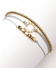 Take a look at this Gray & Gold Triple Bracelet by Farfan Jewelry on #zulily today!