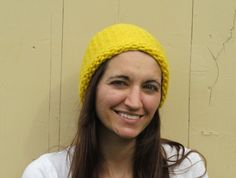 Loops and Threads Cozy Wool Knitted Sunshine Yellow Hat by ArtTx, $15.00