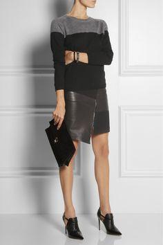 Tibi|Asymmetric leather and ponte skirt|NET-A-PORTER.COM