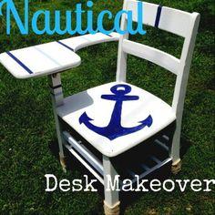 Nautical School Desk Makeover - The Charming Farmer